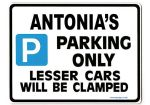 ANTONIA'S Personalised Parking Sign Gift | Unique Car Present for Her |  Size Large - Metal faced